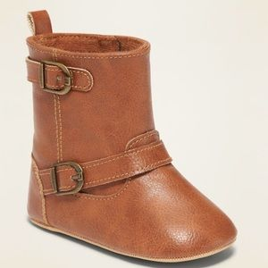 Old Navy tall faux leather boots 3-6 mos (sz. 2)
